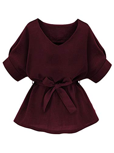 Milumia Women's V Neckline Self Tie Short Sleeve Plus Size Blouse Tunic Tops Burgundy XXX-Large