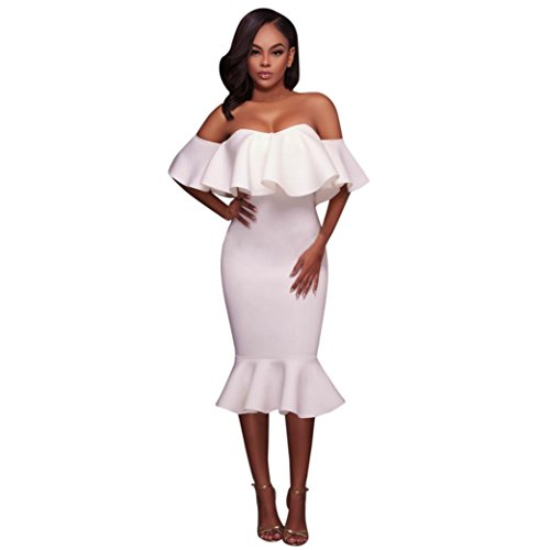 Minisoya Women Bodycon Off Shoulder Ruffle Skirt Evening Party Cocktail Flared Mermaid Pencil Dress (White, L)