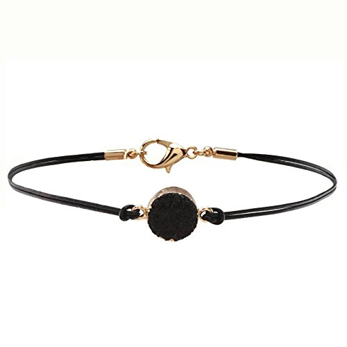 Druzy Charm Leather Choker Necklace product image