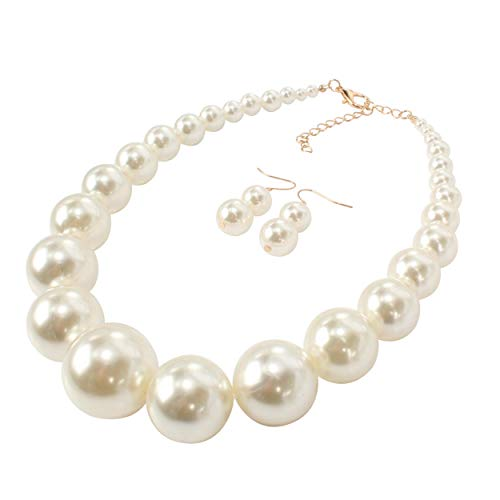 Faux Jewelry Pearl Costume - HaHaGirl Big Faux Pearl Strands Necklace Large White Beads Fashion Costume Women Jewelry