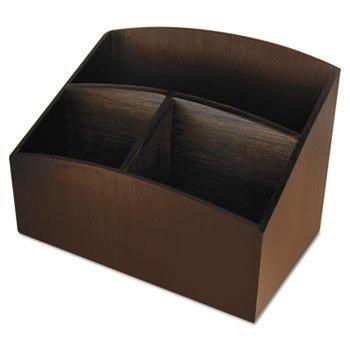 Artistic Eco-Friendly Bamboo Curves Desk Organizer, 7 1/4 x 4 3/4 x 5 1/4, Espresso