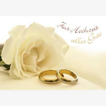 Hochzeitskarte Weisse Rose Mit Ringen Amazon De Burobedarf