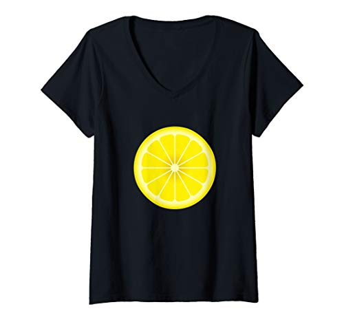 Womens Yellow Lemon Costume Shirt Matching Halloween Costume Shirts V-Neck T-Shirt