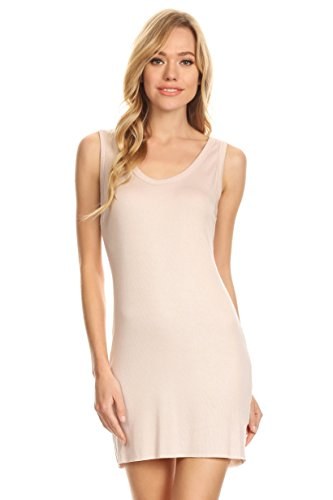 A+D Womens Casual Ribbed Bodycon Sexy Mini Tank Dress (L. Taupe, Medium)
