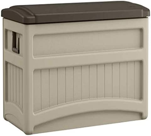 Suncast Patio Furniture Deck Box Premium Outdoor Storage 73 Gallon Resin Waterproof Contemporary with Wheels Weatherproof Design