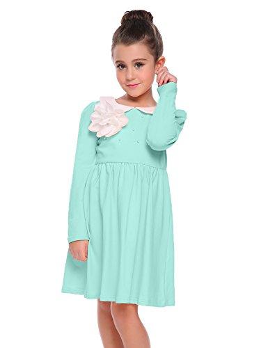 Arshiner Little Girls Long Sleeve Dress Skater Flower Beads Peter Pan Collar Dress by Arshiner (Image #2)