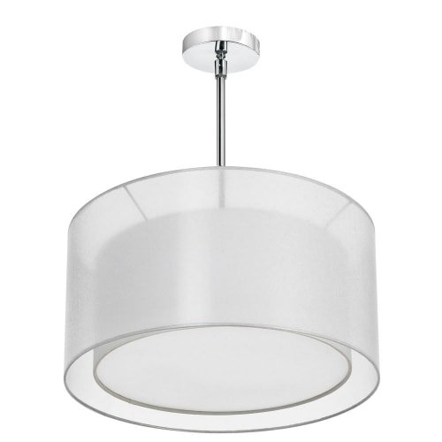 (Dainolite Lighting MEL228-819-790-PC 3-Light Pendant with Double Shade White and White with 790 Diffuser )
