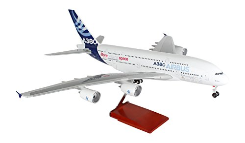 Daron Skymarks Airbus House Colors A380-800 Airplane Model with Wood Stand & Gear (1/100 Scale)