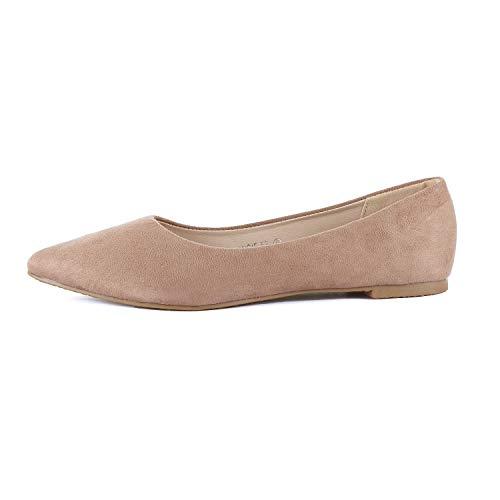 Guilty Heart | Womens Pointy Toe Ballet Slip On Shoe | Casual Comfortable Flats (8.5 M US, Mocha -