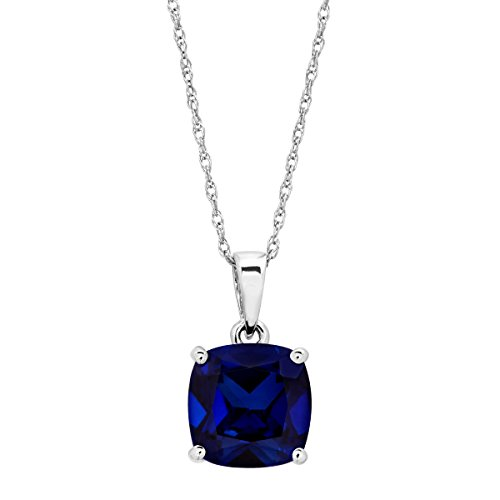 2 7/8 ct Created Sapphire Solitaire Pendant Necklace in 14K White Gold