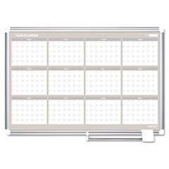 * MasterVision 12 Month Year Planner, 36x24, Aluminum Frame
