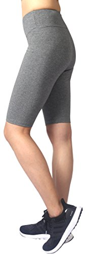 Neonysweets Womens Gym Fitness Yoga Shorts Cotton Half Pants (L, Gray)