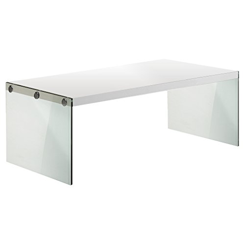 """monarch specialties i 3286, coffee table, tempered glass, glossy white, 44""""l"""