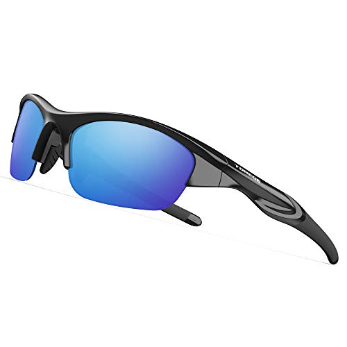 TOREGE Tr90 Flexible Kids Sports Sunglasses Polarized Glasses for Junior Boys Girls Age 3-15 TR041 (Black&Blue ()