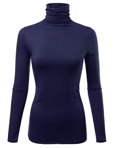 Womens Long Sleeve Light Weight Turtleneck T-Shirts Top Sweater (CLLT002) Navy 1X -