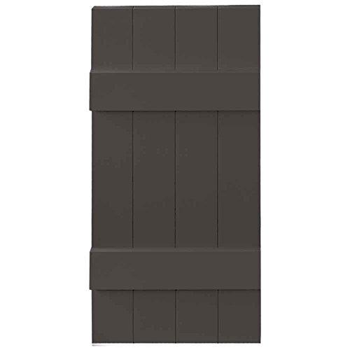Builders Edge 14 in. x 75 in. Board-N-Batten Shutters Pair, Four Boards Joined 018 Tuxedo Grey