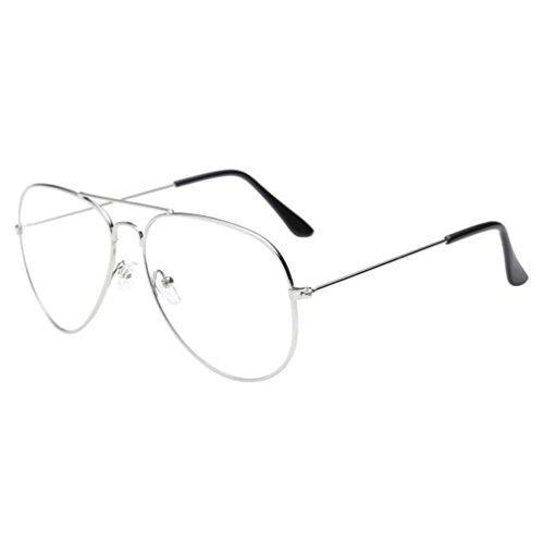 Classic Eyeglasses Frame (Ecosin Classic Men's Women's Aviator Metal Frame Sunglasses Retro Vintage Double Bridge Glasses (Silver))