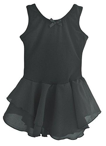 Dancina Leotard Tank Top Dress Short Sleeve Girls' Higher Neckline Cotton Twirl Skirt Costume 8 Black