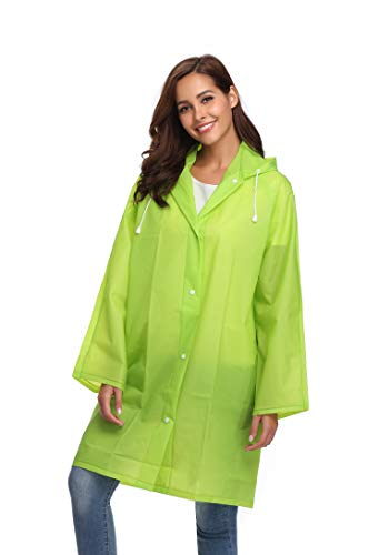 Avoogue Waterproof Lightweight Thick Long Trench Rain Jacket with Portable Storage Large