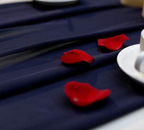 Navy Blue Wedding Table Runner - Chiffon Table Runner 29 x 130 Inches for Romantic Wedding Party Bridal Shower Decorations