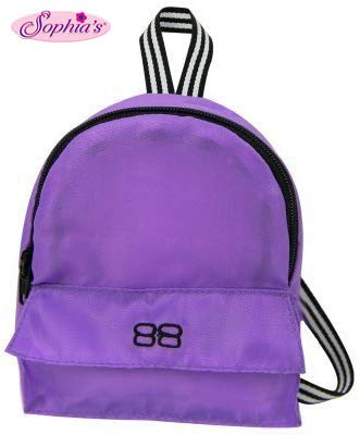 18 Inch Doll Backpack, Doll Size for Plush Animals or 18 Inch Doll Accessories and American Girl Dolls in Purple Nylon, Zippered Opening and Pocket in Purple from Sophia's