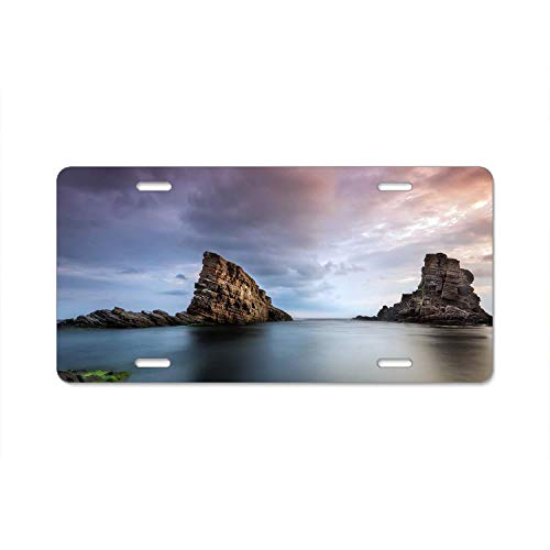 ASLGlicenseplateframeFG Abstract License Plate Bulgaria Ocean Rock Sunset Pretty High Gloss Aluminum Novelty Car Licence Plate Cover Auto Tag Holder 12inch; x 6inch; ()