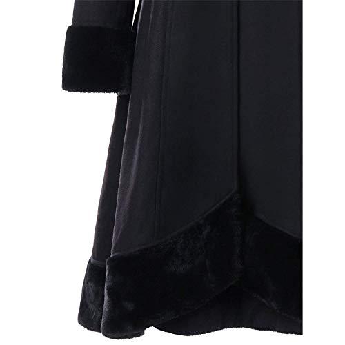 Femme Manteau Blouson Classique Élégant Steampunk Chic Bolawoo Manches Vintage Velours Capuchon À Automne Noir Hiver Coat Irregular Longues Mode Épais Gothique Parker Assez g5xqYRY