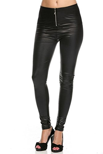Zipper Front Leather Pants - 4