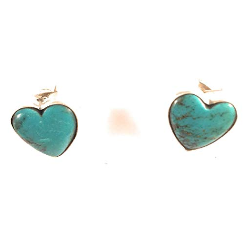 Navajo Sterling Silver Tibetan Turquoise Heart Post Earrings Signed from Nizhoni Traders LLC