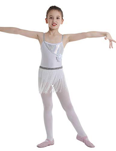 (YOOJIA Kids Girls Sequins Flower Tassels Empire Waist Leotard Skater Latin Rumba Samba Dance Dress White 8)