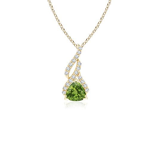 (Trillion Peridot Solitaire Pendant with Diamond Swirl in 14K Yellow Gold (5mm Peridot))