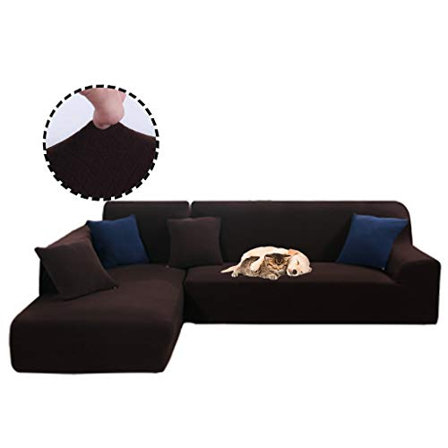 Obokidly Anti-Leakage Jacquard Sectional Corner L-Shaped Sofa Covers;Anti-Wrinkle Chaise 3 Cushion Couch Leather Sofa Silpcovers Living Room;Dustproof Furniture Protectors (Coffee, XXXL -