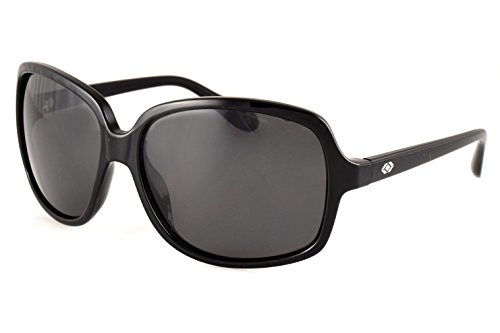 13Fifty Newport Women's Wraparound Sunglasses, Black Square Frame, Smoked Black Polarized Lenses - Brand Name Sunglass