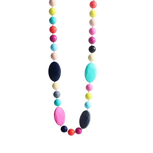 Wwin Rainbow Silicone Necklace Teething Toys Food Grade C...