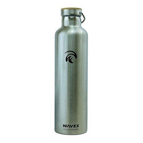 Dual Pane (Waves Gear Dual Pane Stainless Steel Insulated Water Bottle, 24 Hours Cold, 12 Hours Hot, 1 Liter, 34 Oz Capacity with Bamboo Cap, Stainless Steel)