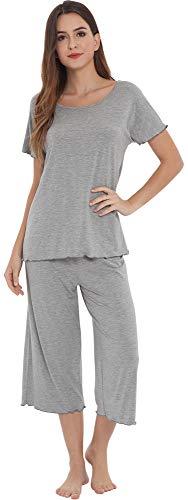 NEIWAI Women's Pajamas Short Sleeve Sleepwear Bamboo Pj Set Heather Grey 4X