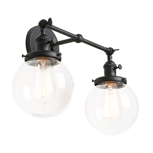 "Phansthy Glass Wall Sconce 2 Light Industrial Wall Sconce 5.9"" Edison Globe Wall Light Shade - Double Wall Sconce"