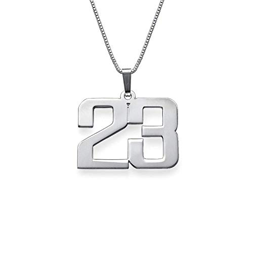 (LAOFU Customized Jewelry for Men - Personalized Charm Number Necklace - Gift for Him/Her (Silver))
