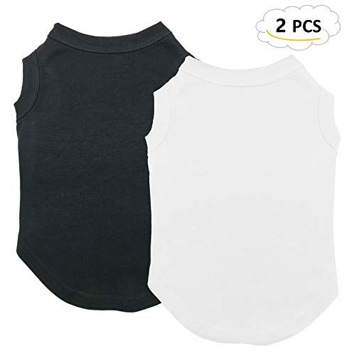 ts Clothes, Dog Clothes T Shirt Vest Soft and Thin, 2pcs Blank Shirts Clothes Fit for Extra Small Medium Large Extra Large Size Dog Puppy, Small Size, Black and White ()