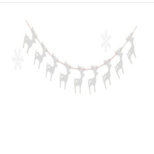 ROSENICE 3m Moose Garlands Christmas Hanging Paper Banners Christmas Trees Ornament (Silver)