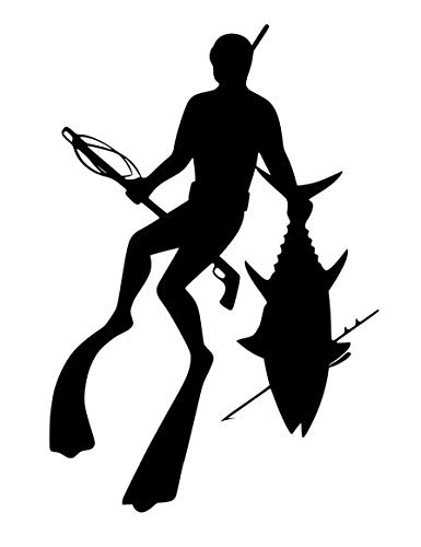 Deep Sea Fossils Scuba Diving Vinyl Decal Car Sticker with Spearfishing Free Diver Carrying Speargun and Tuna - 4.69