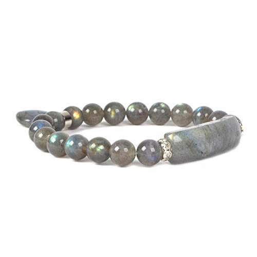 Natural Labradorite Gem Semi Precious Gemstone Love Heart Charm Stretch Bracelet ()