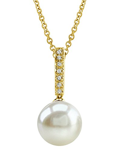 THE PEARL SOURCE 14K Gold 11-12mm Round White Freshwater Cultured Pearl & Diamond Dangling Pendant Necklace for Women - Pearl Dangling Diamond Pendant