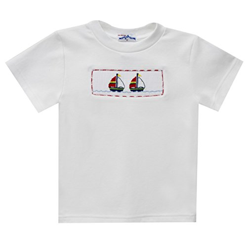 Sailboat Smocked Boys Tee Shirt Short Sleeve (Sailboat Smocked)