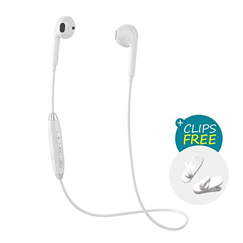 Wireless Bluetooth Running Headphones, Best Sports Sweatproof Noise Cancelling Earbuds for Gym Exercise with Built-in Mic for iPhone X/8/8 plus/7/6, Note 8/7 and Android Smartphones (White)
