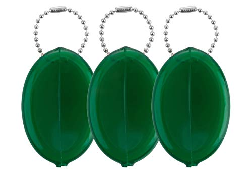 Oval Rubber Coin Purse Change Holder With Chain By Nabob (Green)