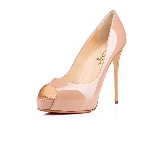 Leather Peep Toe Platform Pump - 6
