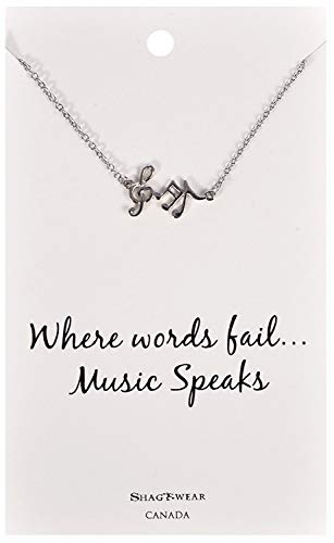 Shag Wear Dream and Music Inspirations Quote Pendant Necklace (Music Notes Pendant)