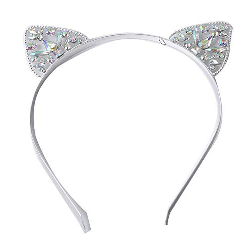 Amethyst Omega Slide - 1Pc Lovely Cat Design Headbands Party Head Rhinestone Decoration Exquisite QP (Color - Silver)