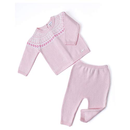 Price comparison product image Petit Clan Newborn Baby Girl 2 Pieces Cardigan with Pant Set,  Intasia Flower Knit,  Pink,  Quality 100% Cotton